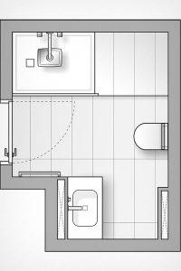 Optimaler Plan für ein kleines Bad mit verwinkeltem Grundriss.