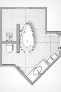 Die Badplaner haben das Bad mit seinem herausfordernden Grundriss optimal geplant.