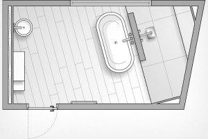 Eckiger Grundriss eines Badezimmers